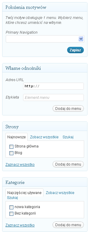 Jak dodać stronę do menu blog WordPress